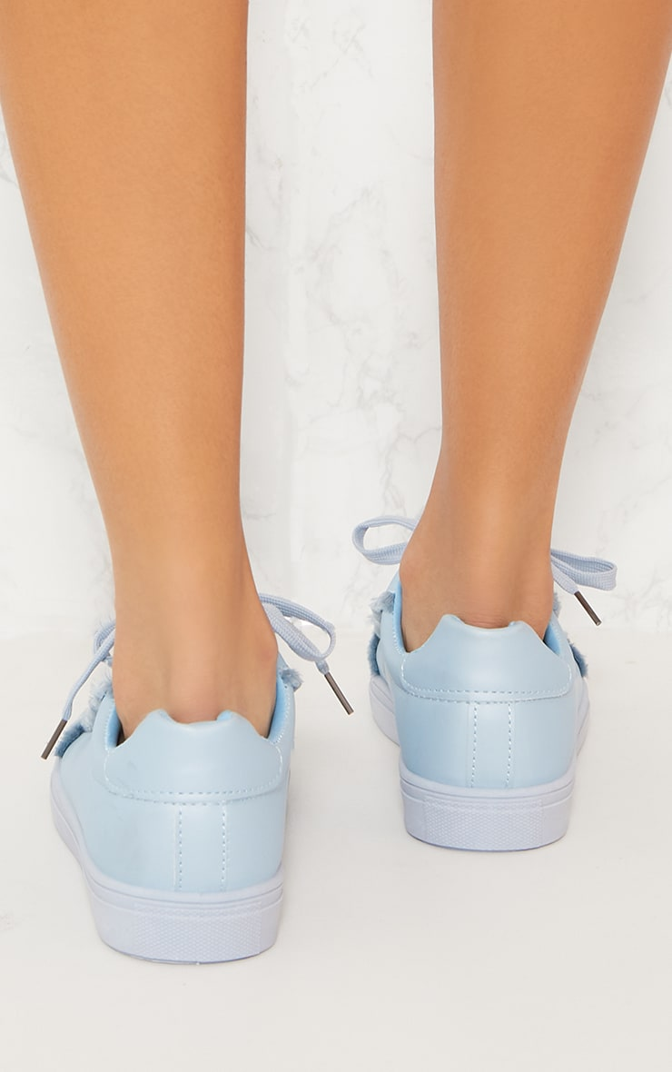 Dusty Blue Frayed Edge Lace Up Trainer 5