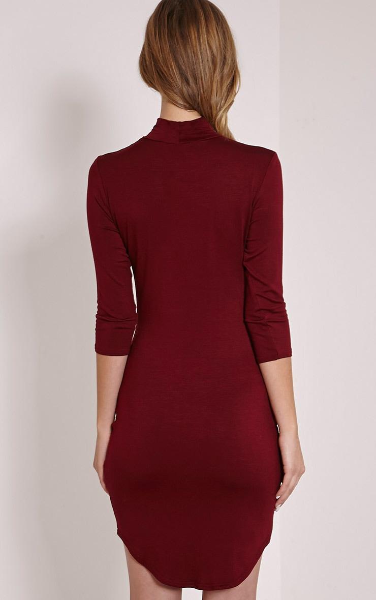 Alby Burgundy 3/4 Sleeve Curve Hem High Neck Dress 2
