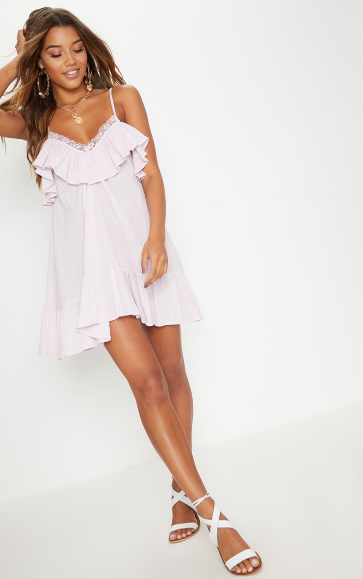 Dusty Pink Lace Trim Cheesecloth Smock Dress 4
