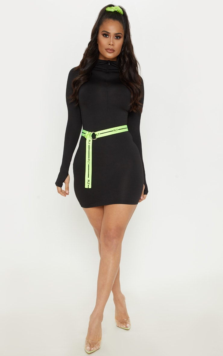 Black Slinky Long Sleeve Zip Up Bodycon Dress 1