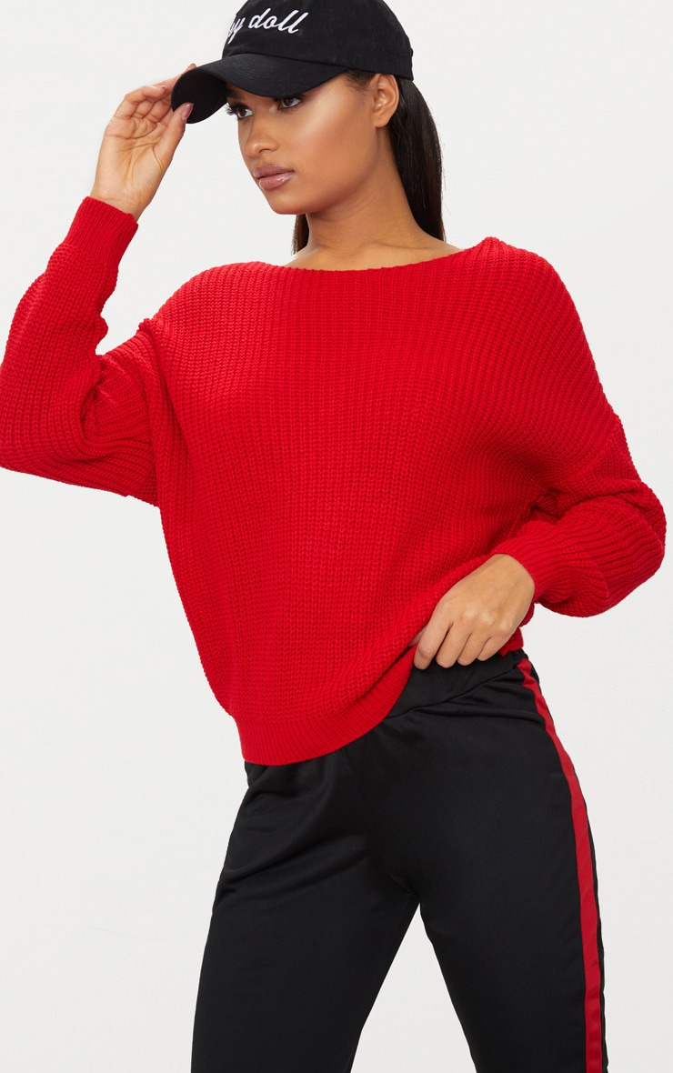 Red Twist Back Sweater 2