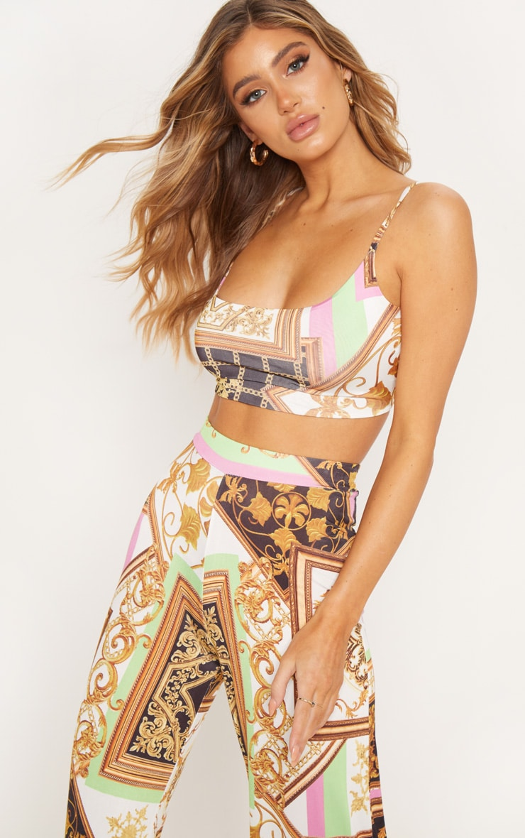 Multi Chain Print Printed Slinky Strappy Crop Top