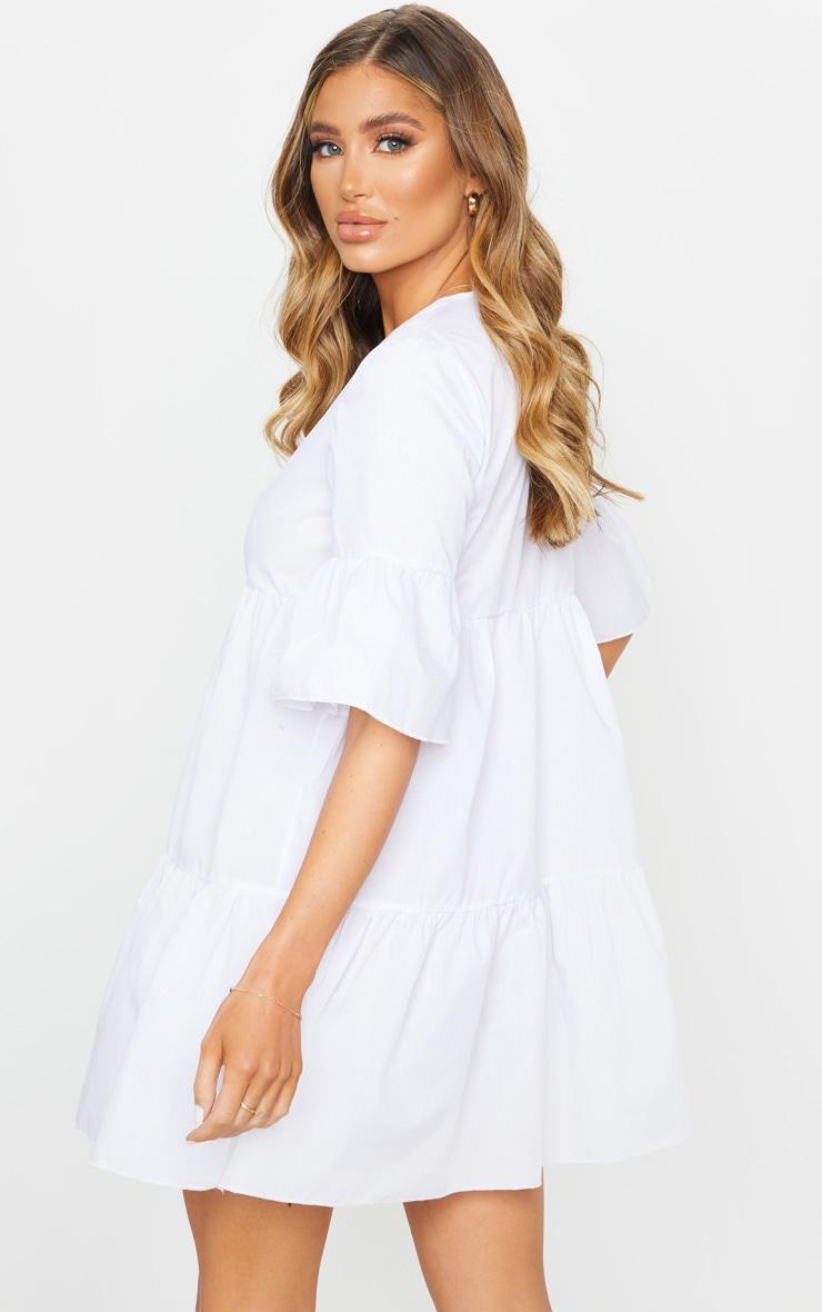 White V Neck Frill Sleeve Tiered Smock Dress 2