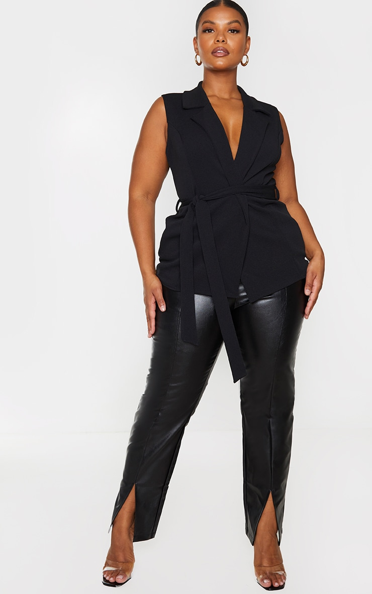 Plus Black Sleeveless Belted Blazer 3