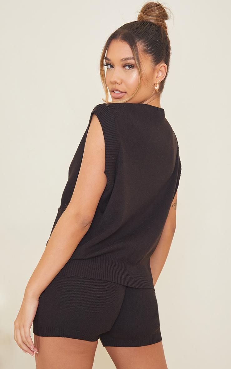 Black Knitted Pocket Detail Button Down Vest 2