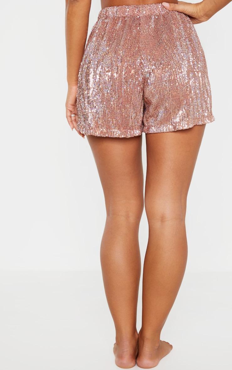 Rose Gold Sequin Shorts 4