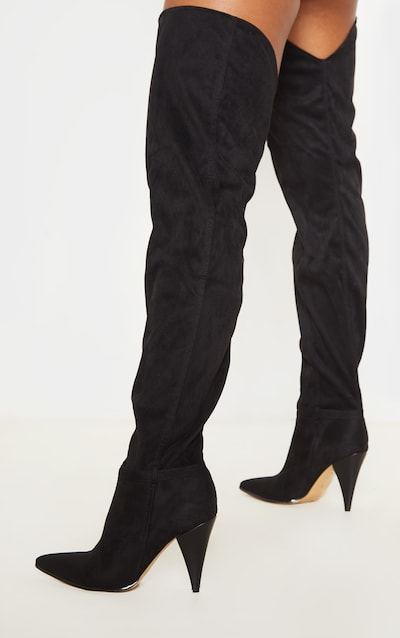 Black Cone Heel Slouch Thigh Boot