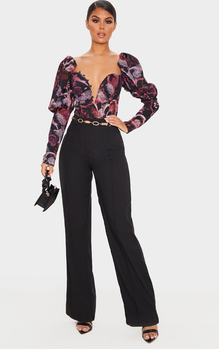 Red Print Woven Puff Sleeve Button Loop Detail Body 5