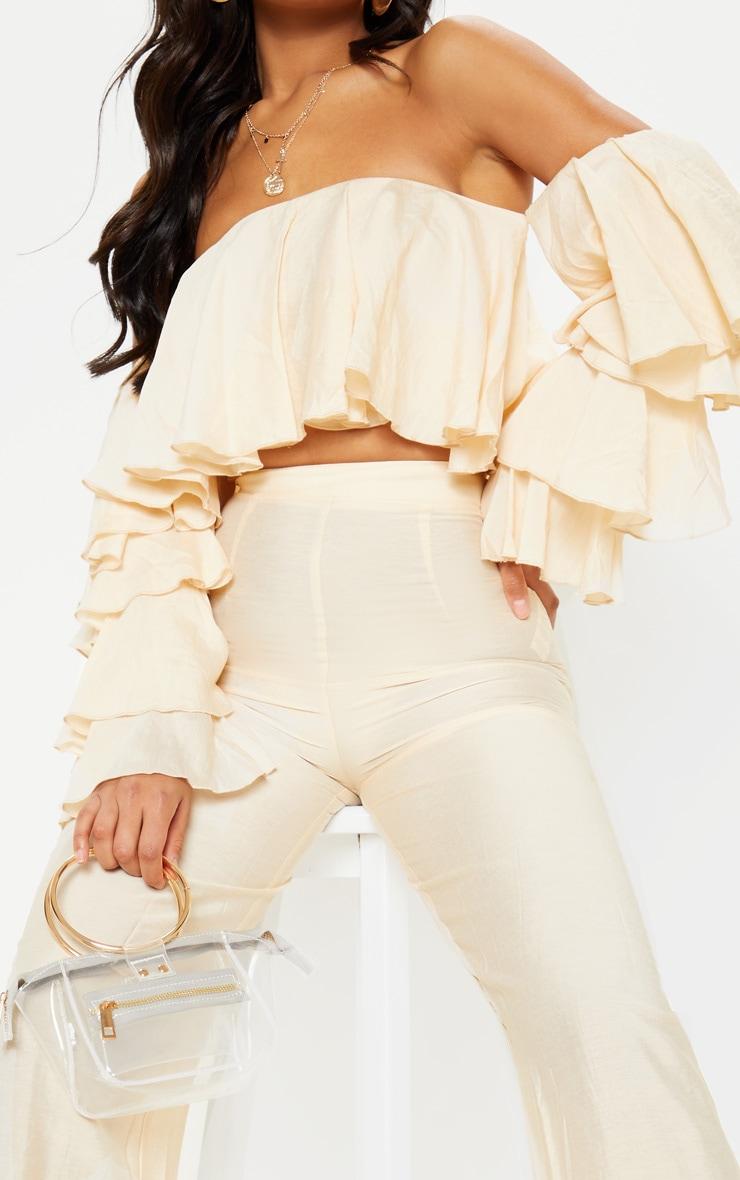 Cream Woven High Waisted Wide Leg Trouser 5