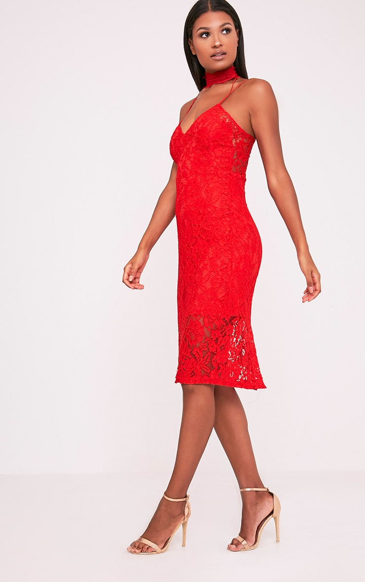 Ciana Red Choker Detail Lace Midi Dress 4
