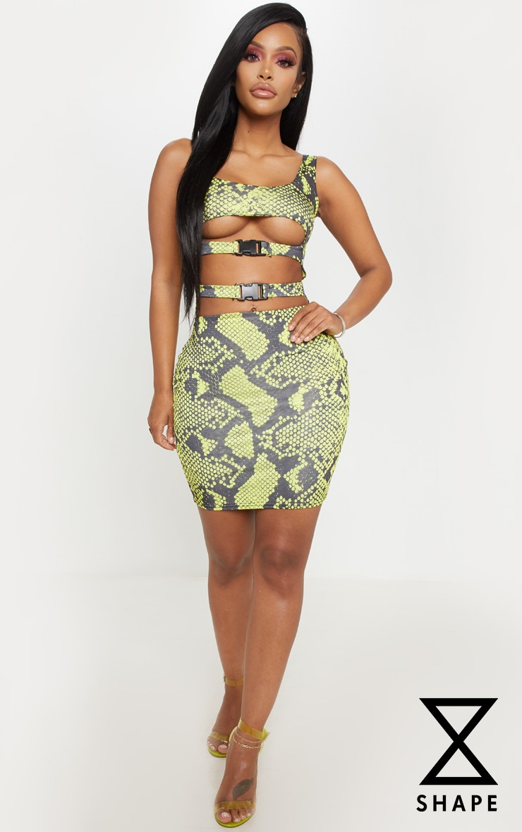 Shape Neon Lime Snake Slinky Buckle Detail Cut Out Bodycon Dress 1
