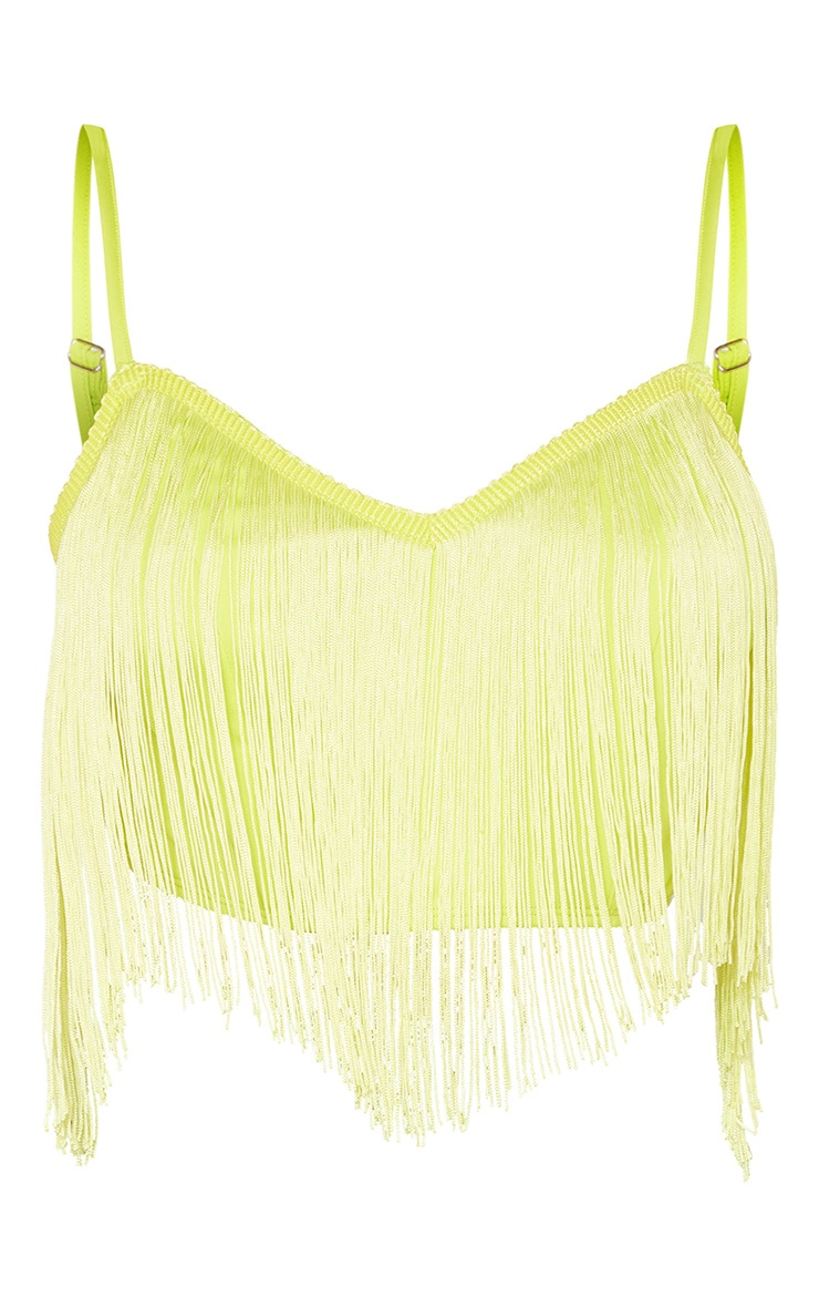 Neon Lime Tassel Trim Sleeveless Crop Top  3