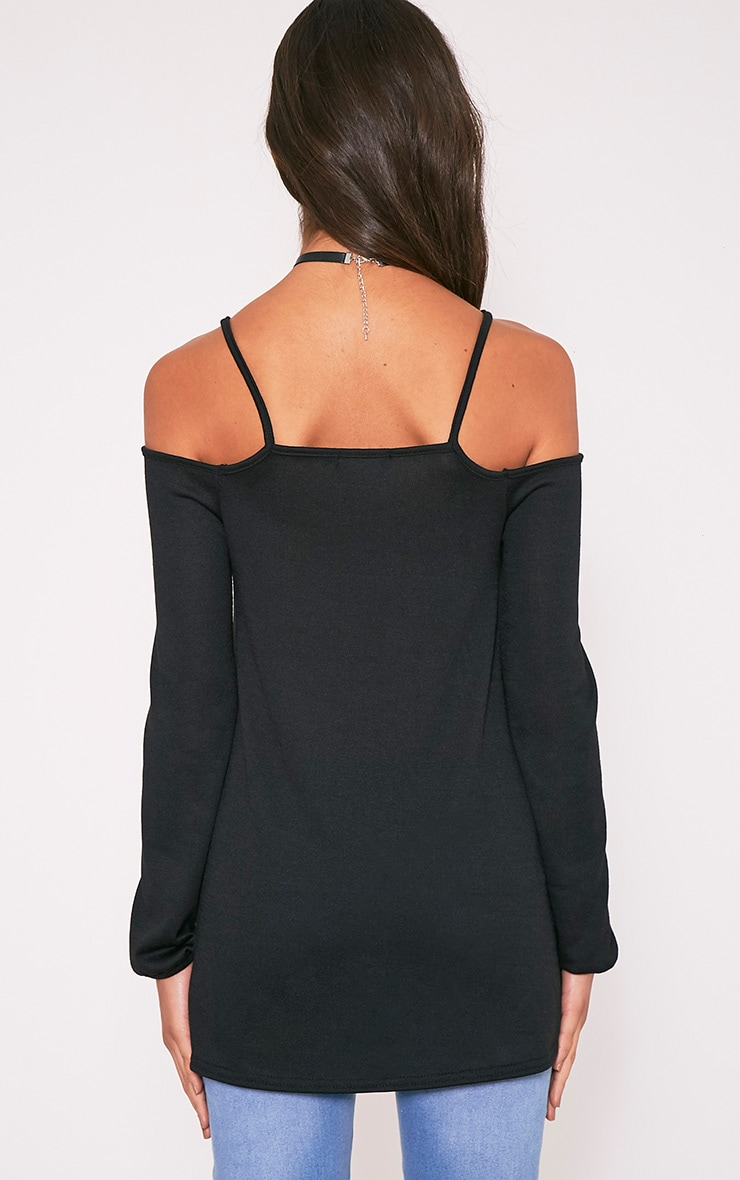 Dylis pull à manches longues et épaules dénudées noir 3