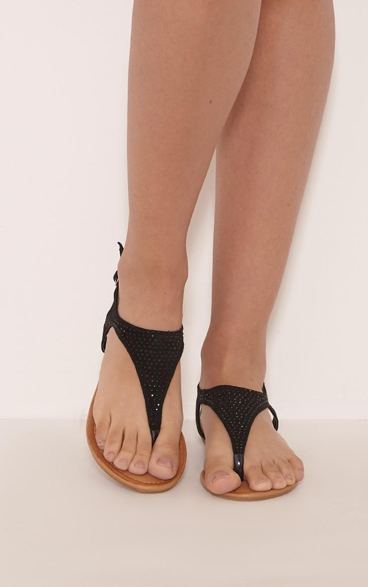 Kerina sandales noires à strass 1