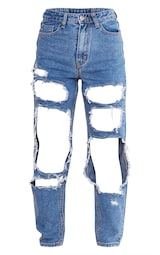 PRETTYLITTLETHING Mid Blue Open Thigh Mom Jean 5
