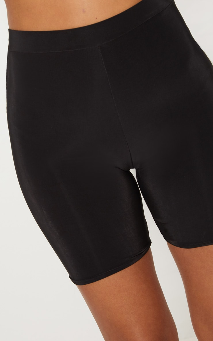 Petite Black Slinky High Waist Bike Shorts 6