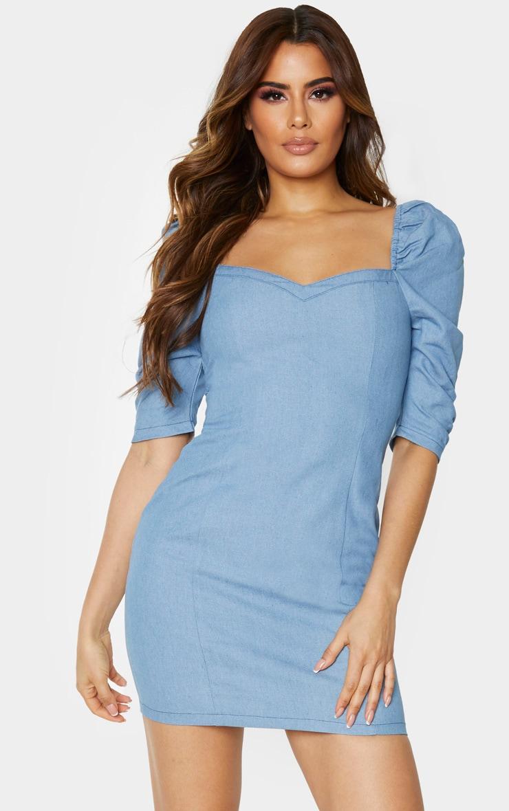 Tall Light Blue Wash Denim Puff Sleeve Mini Dress 1