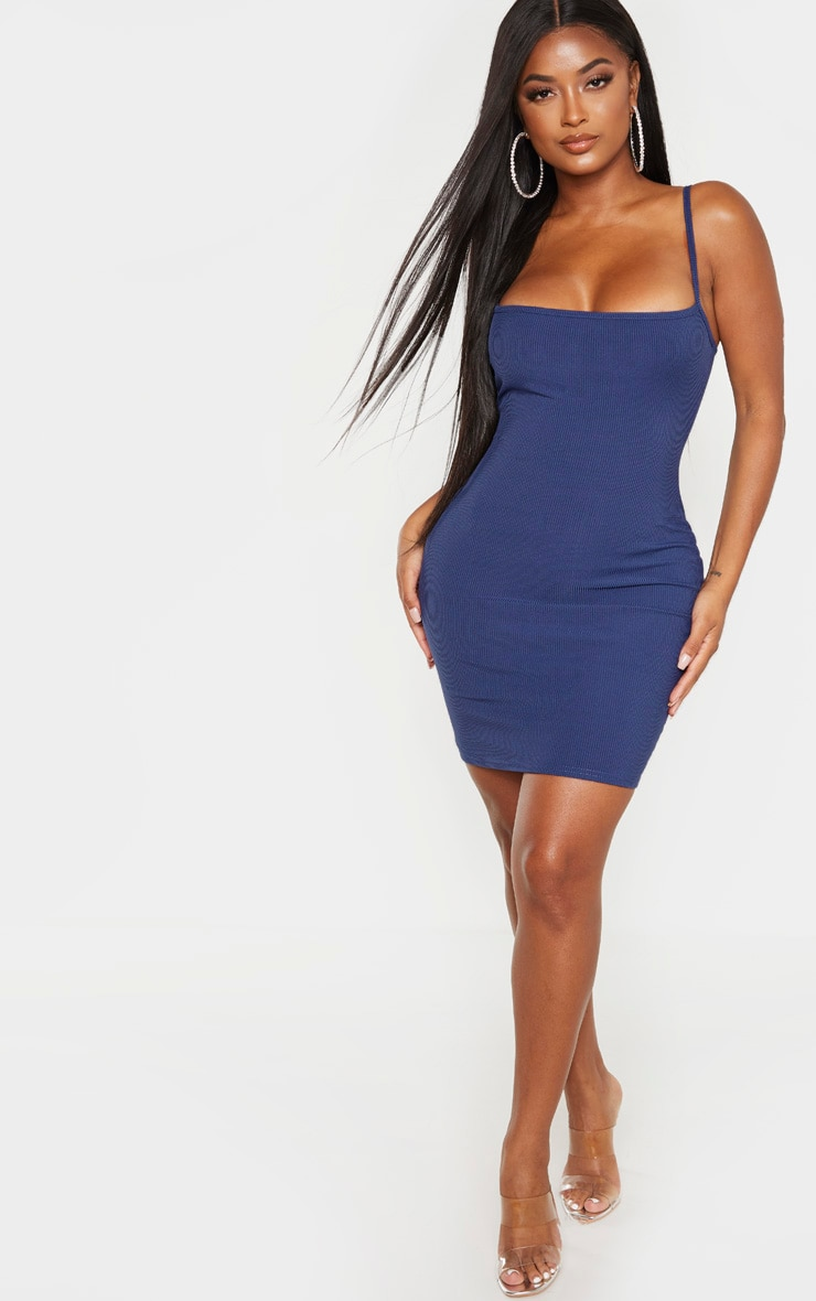 Shape Midnight Blue Ribbed Strappy Bodycon Dress 4