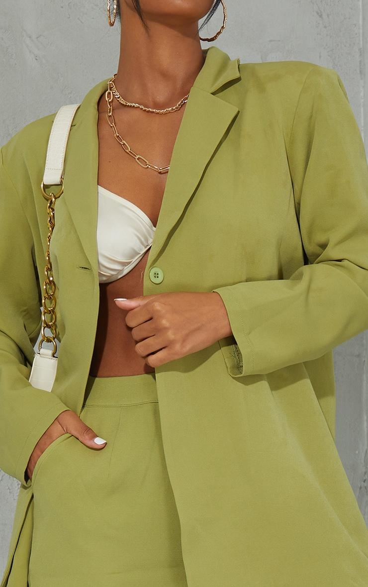 Olive Woven Button Detail Blazer 4