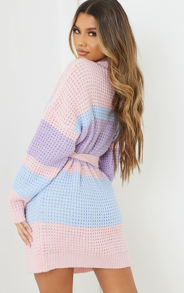 Lilac Colour Block Waffle Knitted Jumper Dress 2
