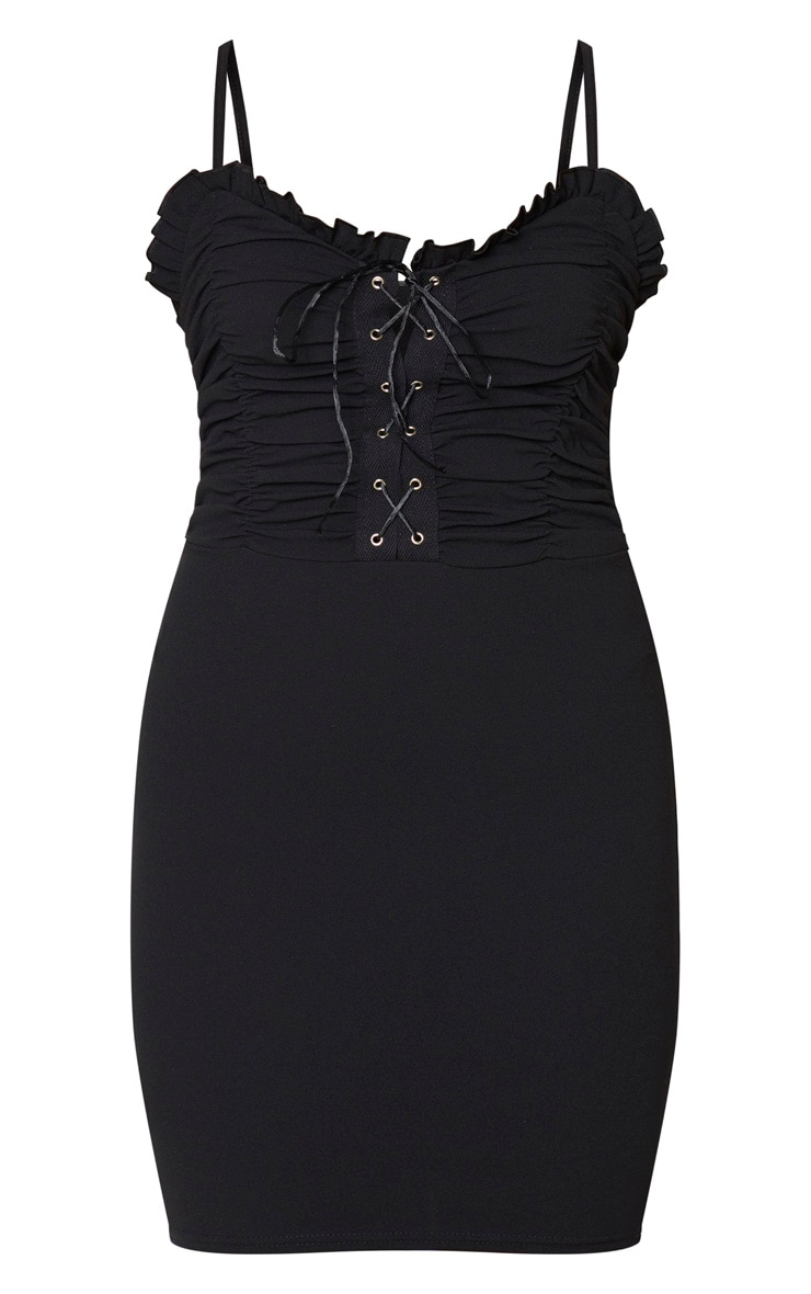 Black Ruched Front Lace Up Bodycon Dress 5