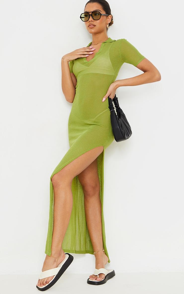 Green Sheer Knit Collar Detail Maxi Dress 3