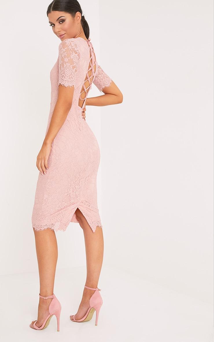 Frankie Dusty Pink Lace Tie Back Midi Dress 2