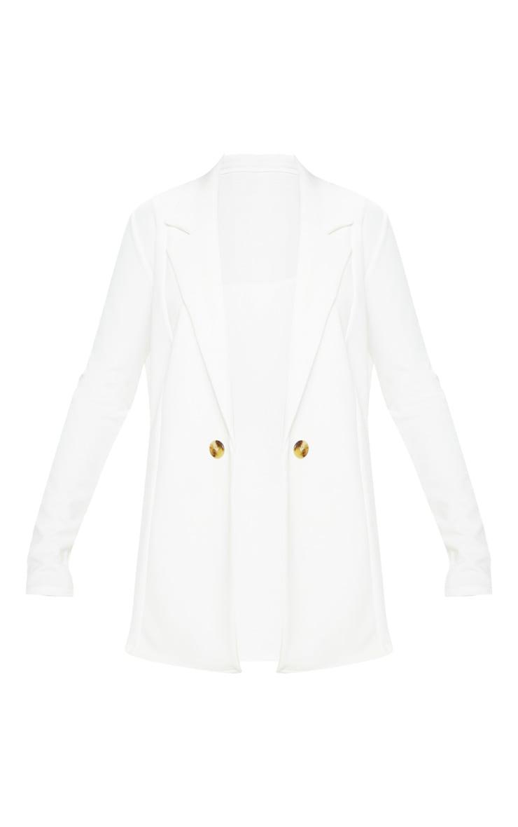 Cream Button Detail Boyfriend Blazer 3