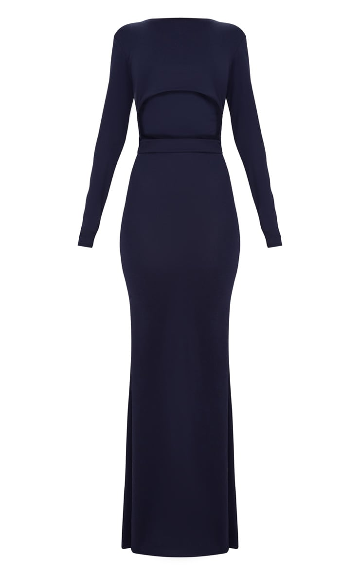 Navy Cut Out Detail Long Sleeve Maxi Dress 3