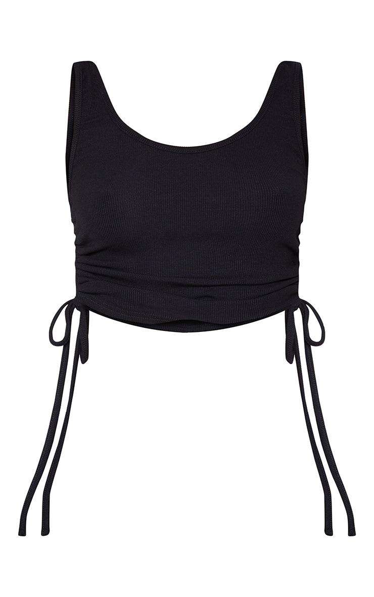Black Rib Ruched Side Vest Top 3