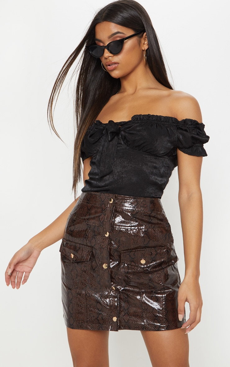 Brown Snakeskin Popper Front Pocket Mini Skirt 1