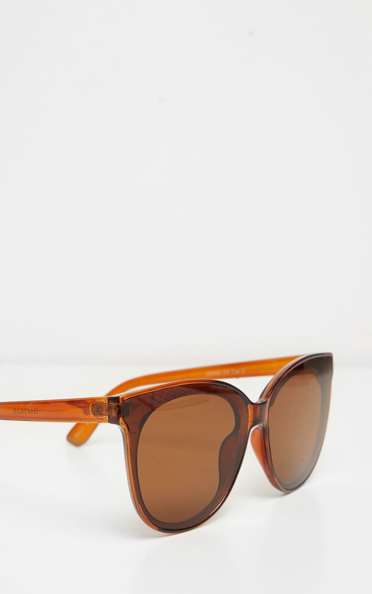 Brown Frame Winged Sunglasses 3