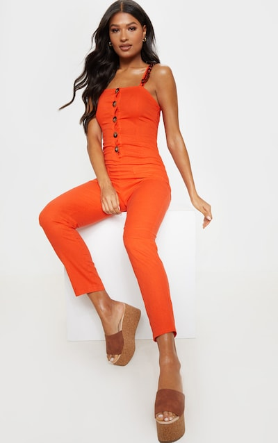 6b6f345a52 Coral Tortoiseshell Button Up Detail Jumpsuit