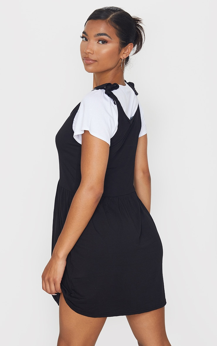 Black 2 in 1 Strappy Tie Strap Detail Shift Dress 2
