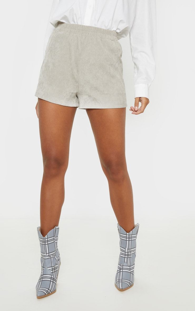 Grey Elasticated Waist Cord Short 2