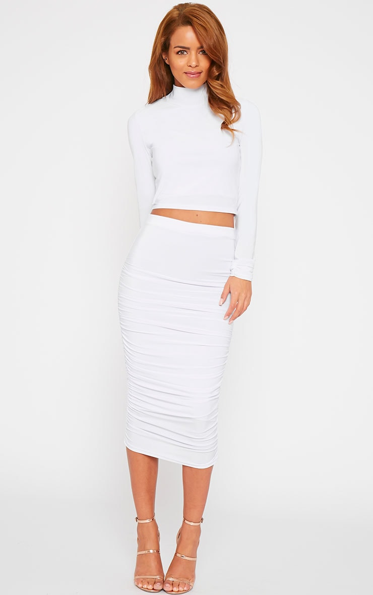 Saylor White Turtle Neck Crop Top 3