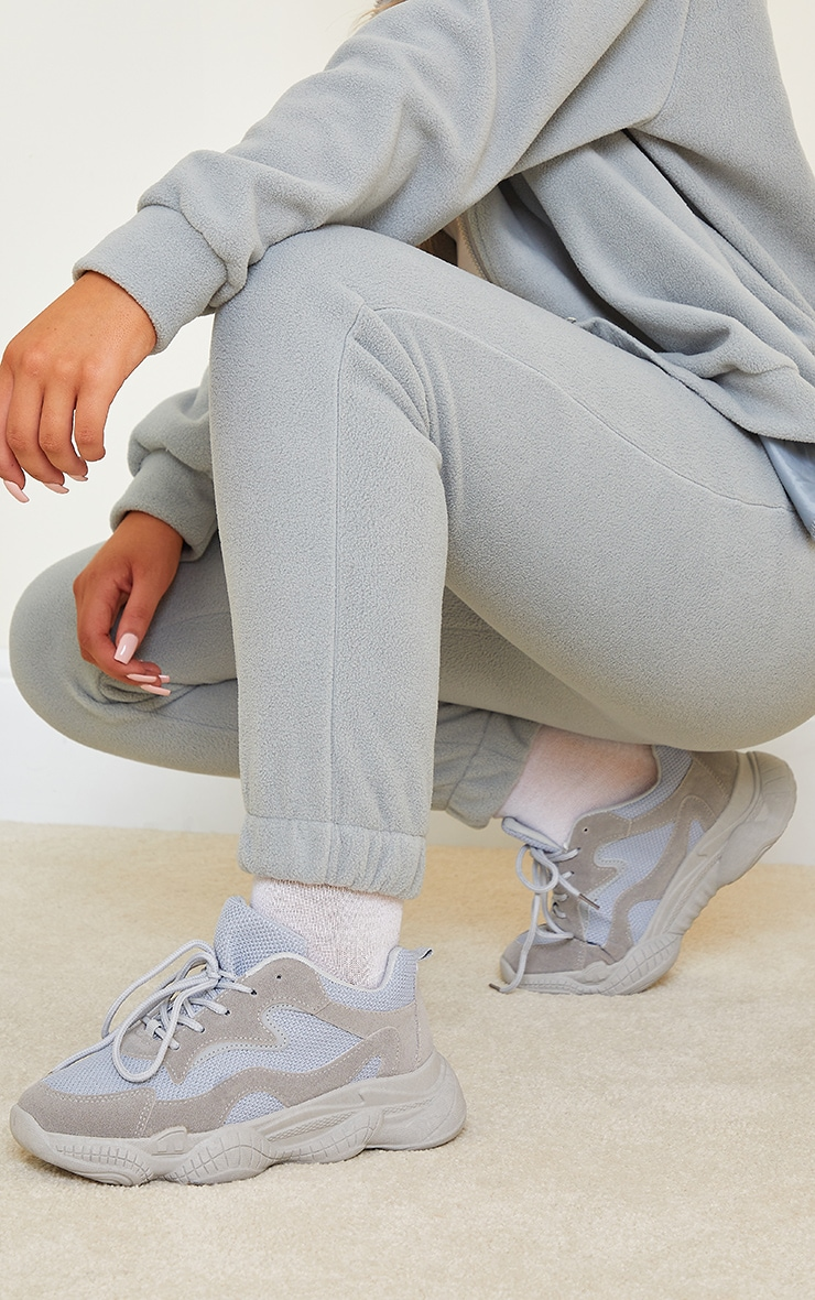 Grey Wide Fit Bubble Sole Lace Up Sneakers 1