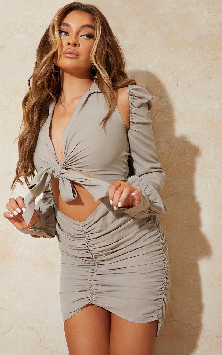 Stone Woven Cut Out Shoulder Detail Plunge Tie Front Bodycon Dress 1