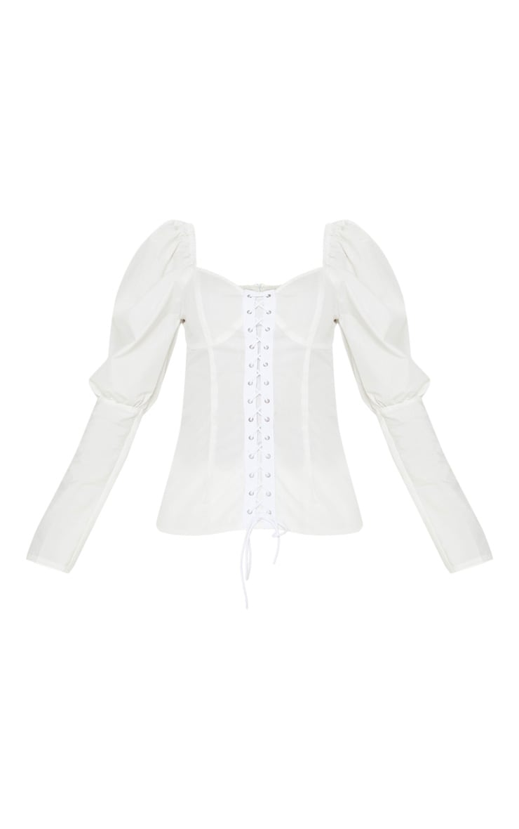 White Lace Up Cup Detail Puff Long Sleeve Top 3