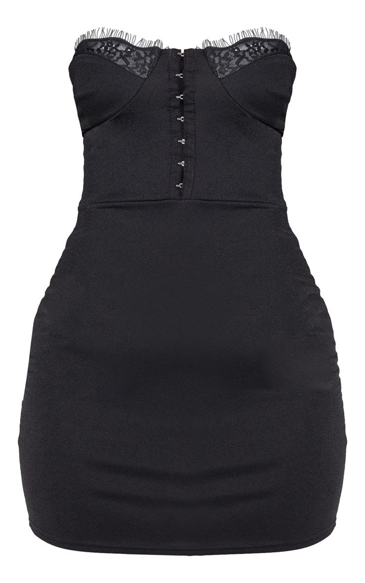 Petite Black Corset Lace Bandeau Mini Dress  3