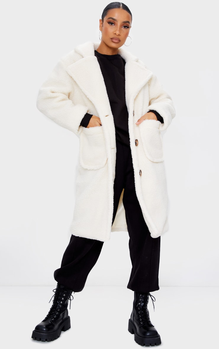Cream Borg Longline Coat 1