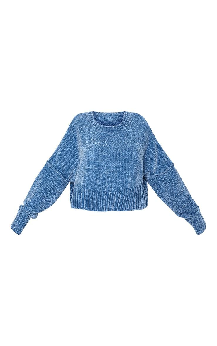 Blue Chenille Knitted Deep Hem Sweater 5
