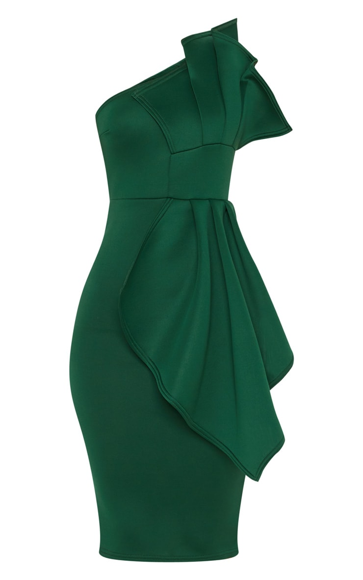 Emerald Green One Shoulder Pleated Detail Midi Dress 3