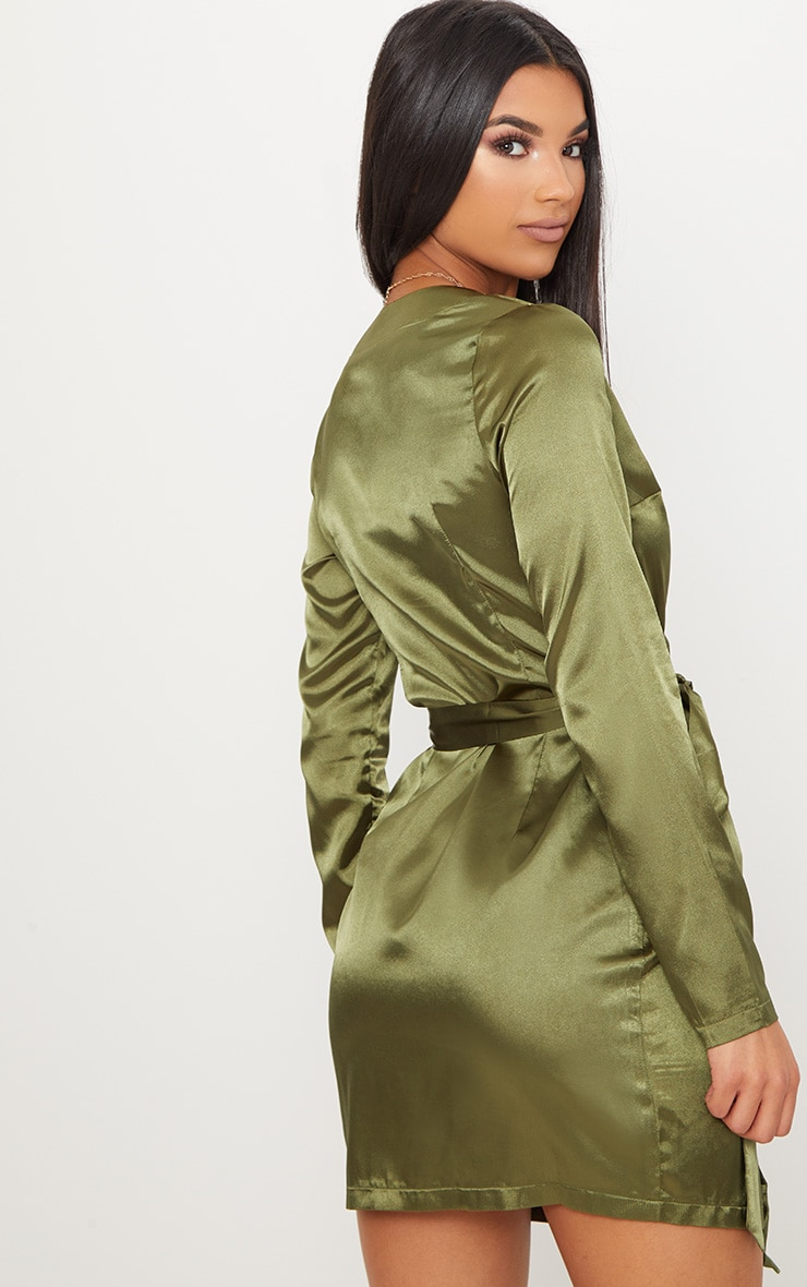 Olive Satin Utility Long Sleeve Bodycon Dress 2