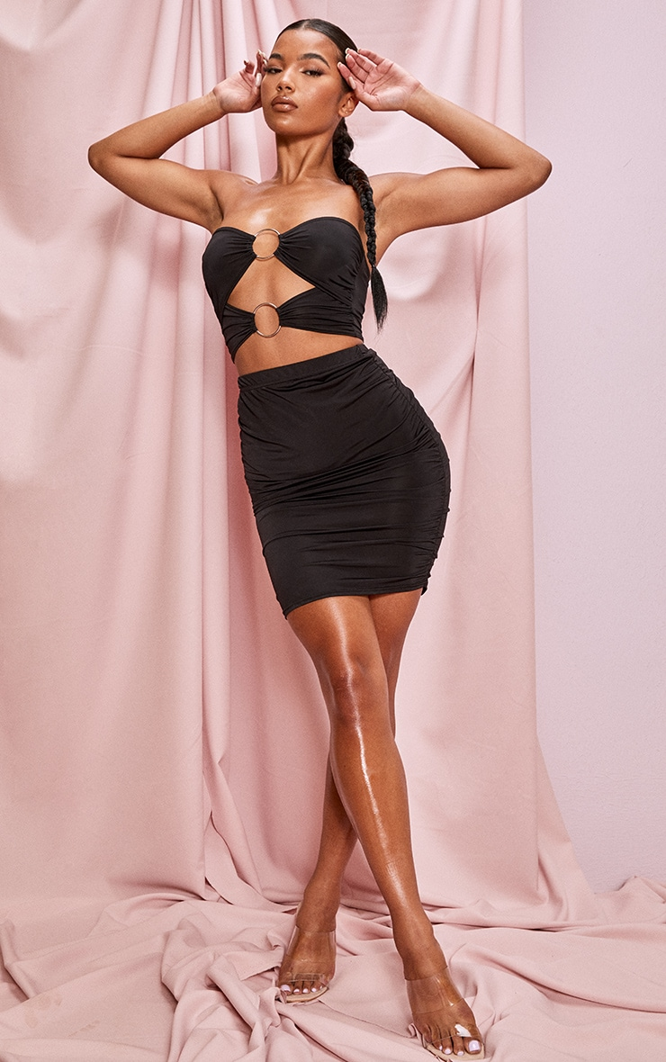 Black Slinky Double Ring Detail Ruched Bandeau 4