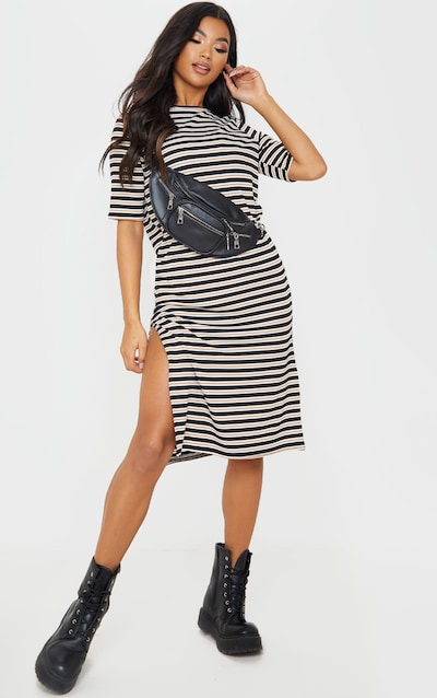 Camel Oversized Stripe Short Sleeve Rib Midi Dress