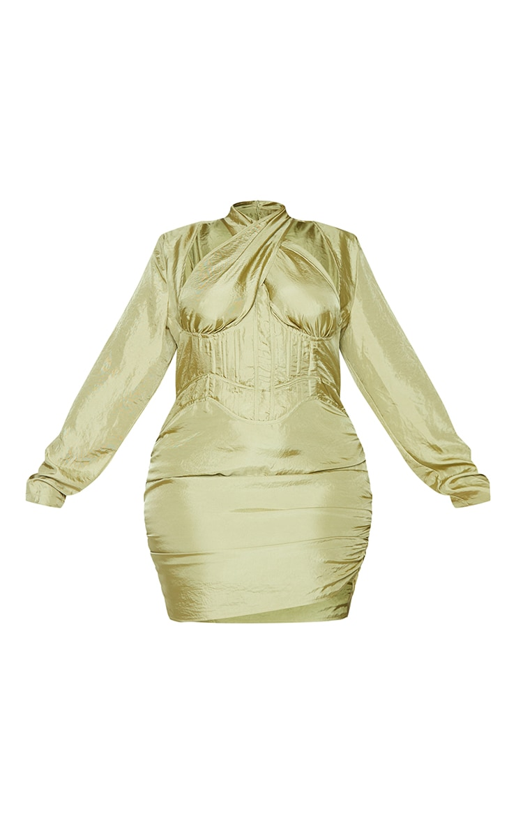 Plus Olive Cut Out Cross Front Corset Bodycon Dress 5