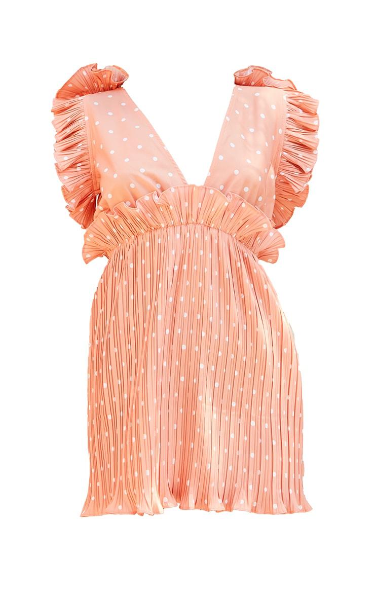 Orange Polka Dot Plunge Pleated Skater Dress 5