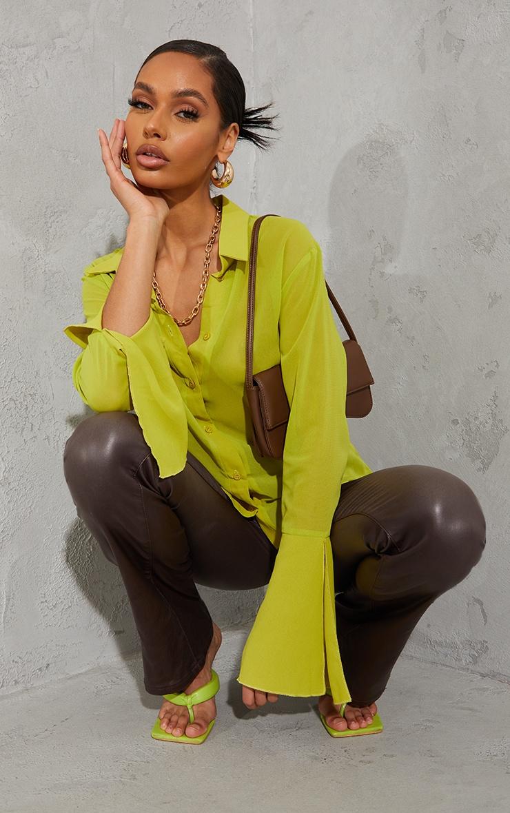 Lime Sheer Chiffon Shirt 3