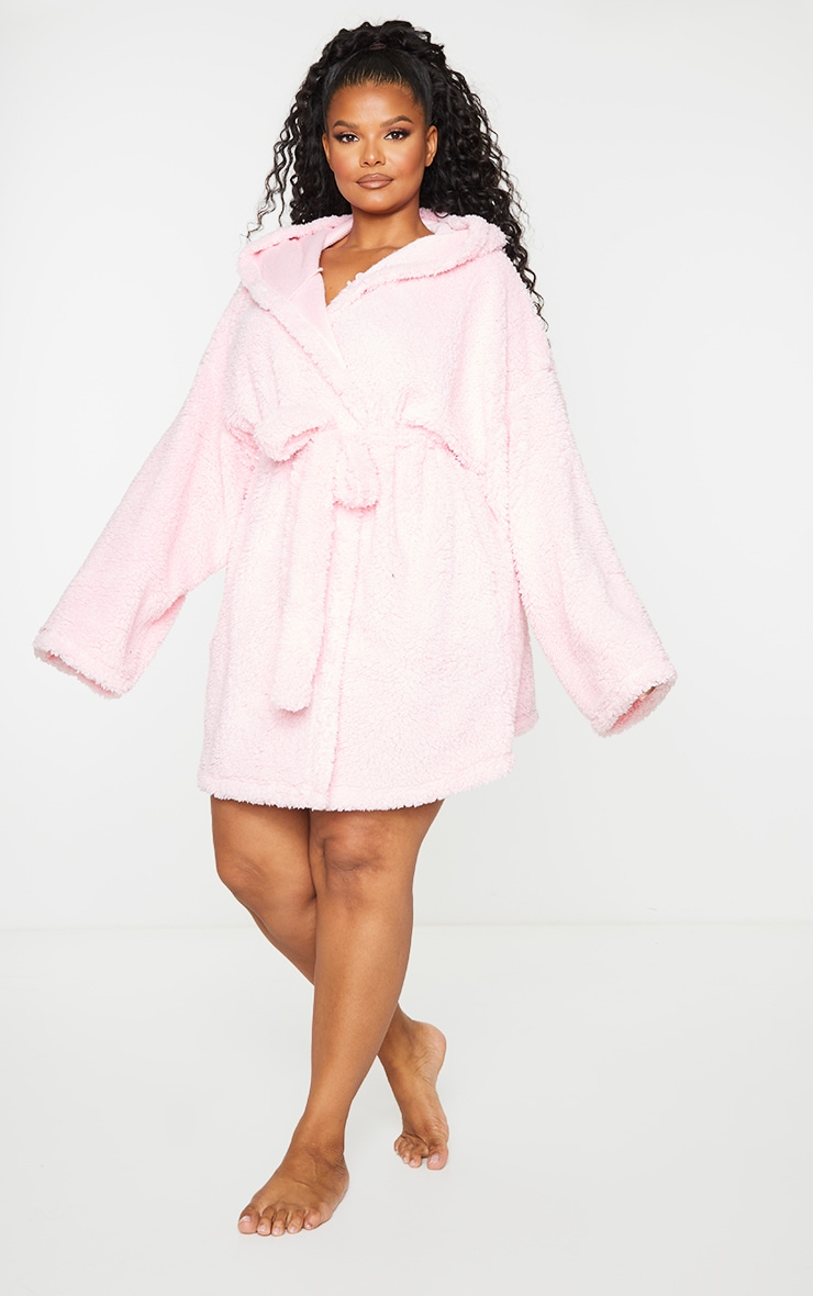 Plus Pink Borg Dressing Gown 3